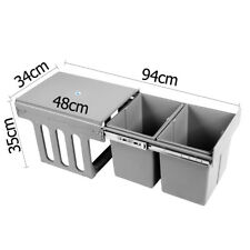2x15L Dual Side Garbage Rubbish Waste Basket Twin Pull Out Bin Kitchen Grey