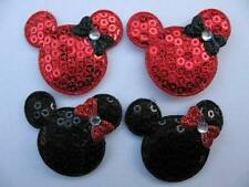10 x 1.5 INCH BLACK + RED SEQUIN MINNIE MICKEY MOUSE HEAD APPLIQUE HEADBAND BOWS