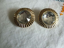 Collectible Clip Earrings Gold Tone Clear Rhinestones Signed ANCER  1 1/8""