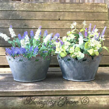 Vintage Style French Grey Set of 2 Round Metal Garden Planters Flower Pots Tubs