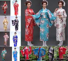 ` Women's Kimono Costume Yukata Gown Japanese Floral Robe Haori Dress with Obi