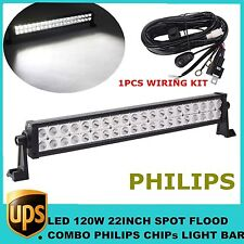 """22"""" 120W PHILIPS LED Work Light Bar COMBO Offroad Fog 4X4 DRIVING Truck with KIT"""