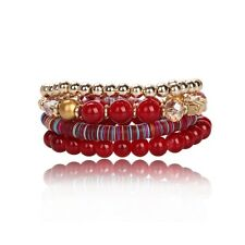 Lot de 4 Bracelets Fantaisie Femme en Perles et Cristal Rouge