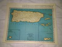 1942 Map of Puerto Rico and the US VIrgin Islands With Mona Island Inset