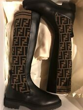 New Fendi Rockoko Brown Logo Sock Knee High Boots Black 36.5 6 6.5