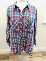 NWT LOVELY LUCKY BRAND WOMENS 1X PLUS TOP LONG SLEEVE BLUE MAROON PLAID COTTON