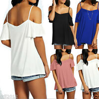 Sexy Women's Short Sleeve Off-shoulder T Shirt Summer Casual Ladies Tops Blouse