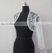 White or Ivory Wedding Bridal Lace Jacket Bolero Shrug Size S, M, L, XL,XXL,XXXL