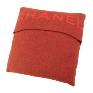 Authentic Chanel Wool Mohair Silk Logo Cushion Red Used Grade B