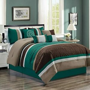 New  7-piece Luxury Leaves Scroll Embroidery Bedding Comforter Set