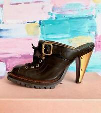 MIU MIU Brown Leather Gold Wood Heels Clogs Women's Lace Up Buckle Shoes SZ 37.5