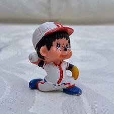 Vintage Monchhichi 1979 PVC / Plastic Mini Figure Baseball Pitcher Fast Ball