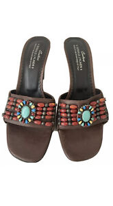 """Donald J Pliner Slip On open Toe Mule Heels """"Made In Mountains Of Italy"""" size 9M"""