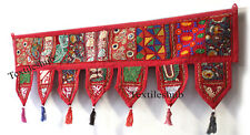Indian Red Patchwork Toran Embroidery Door Valances Vintage Wall Hanging Decor