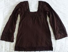 METALICUS top..brown..made in Australia..crochet lace features