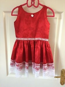 Handmade Girls Satin Brocade Deep Red Dress Age 3-4, Lace embellishments