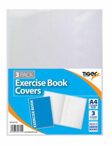 Tiger A4 Clear Strong Plastic Protective Exercise Book Cover Jackets Pack of 10