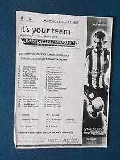Southampton v Arsenal Reserves - 19/10/04 - Teamsheet