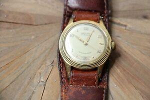 Vintage Armbanduhr ProVita 17 Rubis Rubinen Vergoldet Antik Uhr Lederband