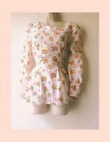 Vtg 70s Floral Puff Sleeve Square Neck Button & Tie Back Prairie Blouse 8-10