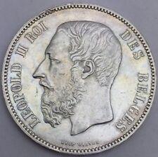 Belgique 5 francs 1873 Léopold II roi des Belge argent #641