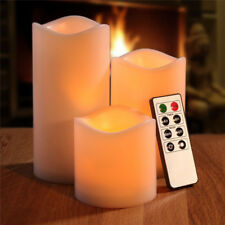 3pcs Battery Powered Pillar Flickering Static LED Candles Lights Timer Remote UK