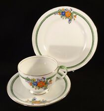 Art Deco Aynsley B1510 Gilded Hand Painted Floral Trio Cup Saucer Side Plate