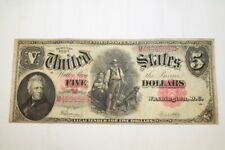 1907 U.S. $5 Dollar Legal Tender Large Note Currency ~ Red Seal ~ Wood Chopper