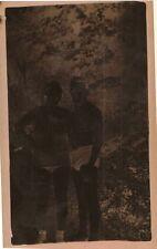 Vintage Antique Photograph Negative Man No Shirt & Woman in Bathing Suits
