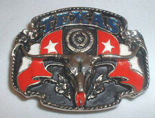 "Texas State Flag ""Longhorn"" Enamel Decorated Belt Buckle"