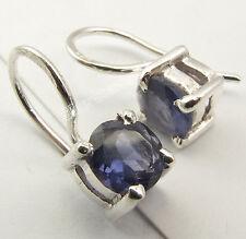 "925 Solid Silver ORIGINAL IOLITE Nice Intricate Setting Dazzling Earrings 0.6"""