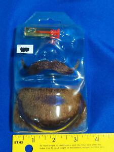 Fake Mustache Brown Goatee Beard Men Mustache 100% Human Hair Halloween VTG