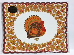 Vintage Hallmark 8 Placemats Thanksgiving Harvest Turkey
