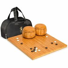 """Bamboo 0.8"""" Go Board w/ Double Convex Melamine Stones and Bowls Set"""
