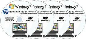HP TouchSmart 520-1070 Factory Recovery Media 4-Discs Set / Windows 7 Home 64bit