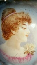 Antique Portrait Table Lamp Early French Victorian Hand Painted 1800s