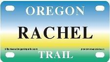 RACHEL Oregon Trail - Mini License Plate - Name Tag - Bicycle Plate!