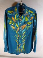 Unisex Hand-Painted Western WRANGLER Rodeo Show SHIRT, EUC, 16-1/2 35 (L) USA
