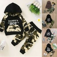 Newborn Infant Baby Boy Letter Print Hoodie T Shirt Tops Camouflage Pants Set