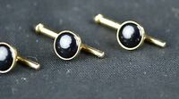 Vintage Lot of 3 Stud/Cuff Link Gold Tone With Black Onyx Polished Stones