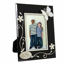 Personalised Black Glass Butterfly Photo Frame - Engraved Free - Birthdays, Mum