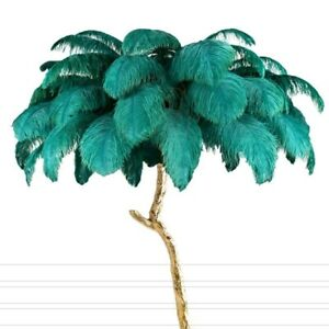 Nordic Luxury Ostrich Feather Floor Lamp Resin Brass Gold Modern Standing Lamps