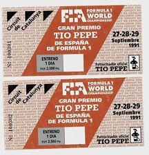 1991 BIGLIETTO FORMULA 1 GRAN PREMIO TIO PEPE España Circuit de Catalunya Ticket