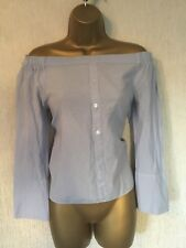 Blue Bardot / Off Shoulder Smart Work Fashion Shirt Top, Atmospere, Size 10