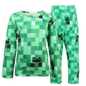 Minecraft Creeper Kids Boys Long Sleeve Pyjama Pajama Nightwear Set