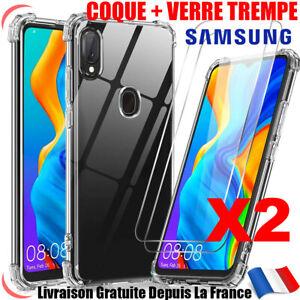 Coque Silicone Samsung A10 A20e A21s A41 A51 A71 +Vitre Protection Verre Trempé