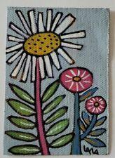 ORIGINAL ACEO Painting Folk Art Flower Whimsical Daisy Sweet Botanical Leaf Stem