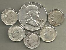 Franklin Half Dollar & Roosevelt Dimes- 90% Silver- US Coin Lot - 6 Coins #3890