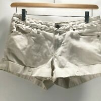 Banana Republic Shorts White Cotton Stretch Size 28 OUTDOOR WORK FLAWED