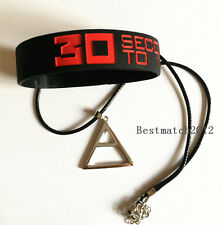 Set 30 Seconds To Mars Triad Triangle Necklace + Silicone Wristband Bracelet